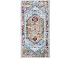 benuta Alfombra pelo corto de pasillo Tara Multicolor/Amarillo 70x140 cm - Alfombra diseño moderno para salon