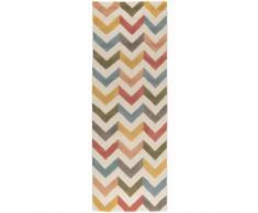 Alfombra de lana de pasillo Windsor Multicolor 80x240 cm - Alfombra natural para dormitorio y salon