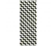 Brita Sweden Plástico Alfombra de pasillo tejido plano Gunnel Negro 70x300 cm