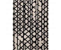 Esprit Alfombra de lana Artisan Pop Blanco y Negro 70x140 cm