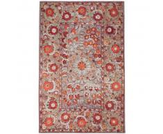 benuta Alfombra de tejido plano Stay Beige/Rojo 195x285 cm - Alfombra lisa para cocina, corredor y pasillo - fácil de limpiar