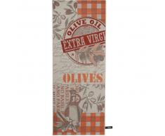benuta Alfombra de cocina Olives Naranja 80x200 cm - Alfombra fácil de limpiar