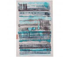 benuta Alfombra de tejido plano Stay Azul 75x165 cm - Alfombra lisa para cocina, corredor y pasillo - fácil de limpiar