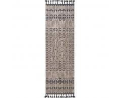 Alfombra pelo corto de pasillo Laila Beige/Negro 80x240 cm - Alfombra diseño moderno para salon
