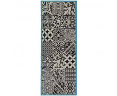 benuta Alfombra de pasillo para cocina Capri Azul 80x200 cm - Alfombra fácil de limpiar