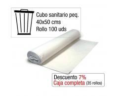 Bolsas de basura blancas cubo sanitario pequeño. Rollo 100 uds.