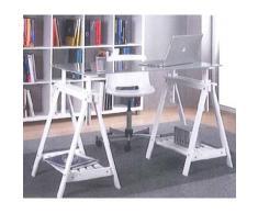 DESKandSIT Mesa de mesas de estudio de base caballetess regulables en altura y cristal kme2016001