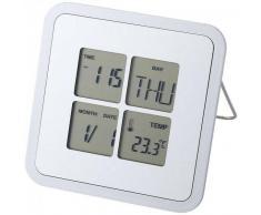 Reloj de sobremesa con termómetro PLATA
