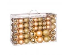 eminza Kit de decoración para abeto de Navidad 100 bolas Oro