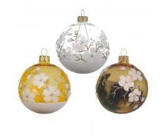 eminza Lote de 6 bolas de Navidad (D80 mm) Anémone Oro