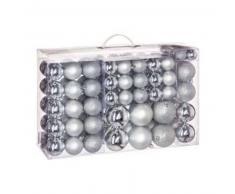eminza Kit de decoración para abeto de Navidad 100 bolas Plata