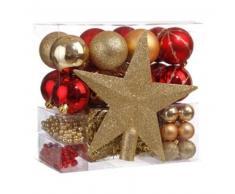 eminza Kit de decoración para abeto de Navidad Aspen Oro / Rojo