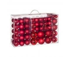 eminza Kit de decoración para abeto de Navidad 100 bolas Rojo