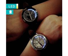 Lesara Reloj de piel LED con árbol