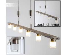 Garnish Lámpara colgante LED Níquel-mate, Madera oscura, 6 luces - 2200 Lumen - Moderno - Zona interior - 3000 Kelvin - 2 - 4 días laborables .