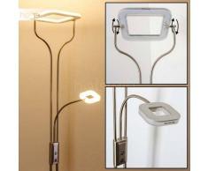 BISSET Lámpara de Pie LED Níquel-mate, 2 luces - 1500/380 Lumen - Moderno - Zona interior - 3000 Kelvin - 2 - 4 días laborables .