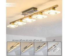 Kolari Lámpara de Techo LED Níquel-mate, Cromo, 5 luces - 1750 Lumen - Moderno - Zona interior - 3000 Kelvin - 4 - 8 días laborables .