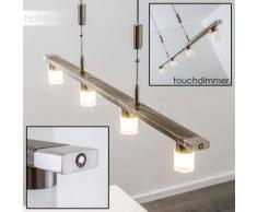 Nelson Lámpara colgante LED Níquel-mate, Madera oscura, 4 luces - 1480 Lumen - Diseño - Zona interior - 3000 Kelvin - 2 - 4 días laborables .