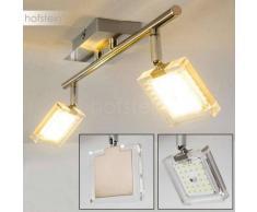 Kiruna Lámpara de Techo LED Níquel-mate, Cromo, 2 luces - 840 Lumen - Moderno - Zona interior - 3000 Kelvin - 4 - 8 días laborables .