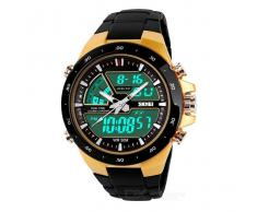 Analog + Waterproof SKMEI 1016 Reloj digital para hombres - Negro + Amarillo