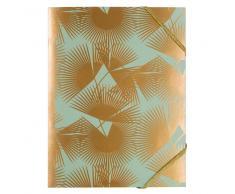 Maisons du monde Carpeta de cartón verde impresa con motivos vegetales dorado A4