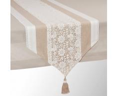Maisons du monde Camino de mesa de algodón beis L 150 cm WONDERFUL