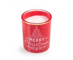 Maisons du monde Vela y portavelas de Navidad en tarro de cristal con impresión roja