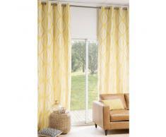 Maisons du monde Cortina de ojales amarilla/blanca 140 × 300 cm HYPNOSIS