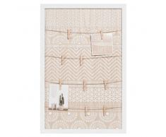 Maisons du monde Tablón de imitación a madera con motivos blancos ESCALE