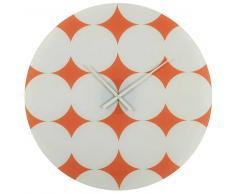 Maisons du monde Reloj de cristal naranja con motivos blancos D.70 cm RETRO POP