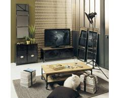 Maisons du monde Mueble de TV industrial con ruedas de metal y madera efecto envejecido An. 115 cm Wayne