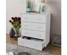 vidaXL Cómoda con 4 cajones de color blanco, dimensiones 60 x 30,5 71 cm