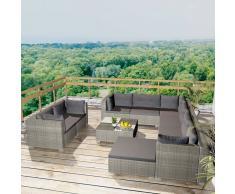 vidaXL Conjunto de sofás jardín 32 piezas poli ratán gris