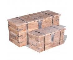 vidaXL Set de baúl almacenamiento madera acacia 2 unidades