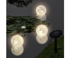 vidaXL Lámparas solares flotantes para piscina, con LED, 3 unidades