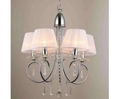 Lámpara de techo/Lámpara de araña - barroco cristal/cromo 5 luces Lumyse