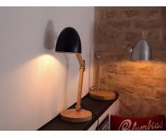 Beliani Lámpara De Mesa - Iluminación De Noche - Madera Y Aluminio - Negro - Veleka (51058)