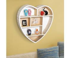 HOMCOM Estantería de Pared con Diseño Original en Forma de Corazón con 7 Cubos de Madera - 35x6.5x37.5cm