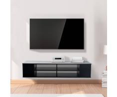 HOMCOM Mueble de TV Colgante en la Pared de Televisión con 6 Estantes - Color Negro - 120x40x25cm