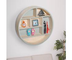 HOMCOM Estantería Colgante de Pared Redonda de Madera Mueble Decorativo y Original - 35.5x6.5x35.5cm