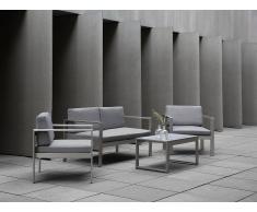 Beliani Conjunto De Jardín En Aluminio - Sofá, Mesa Y 2 Sillas - Gris Claro - Salerno (60795)