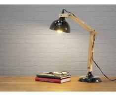Beliani Lámpara De Mesa - Lámpara De Trabajo - Metal Y Madera - Negra - Salado (26215)
