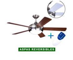 AireRyder Ventilador De Techo Con Luz Aireryder Fn75539 Ursa Nogal O Plata/ Níquel Satinado