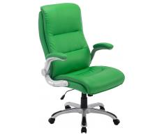 CLP Silla de oficina Villach XXL tapizado de cuero sintético, verde verde, altura del asiento