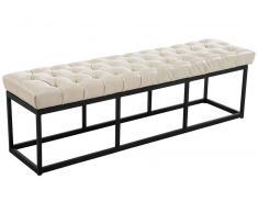 CLP Banco Amun B150 tapizado de cuero sintético crema, soporte metal, altura del asiento 46 cm