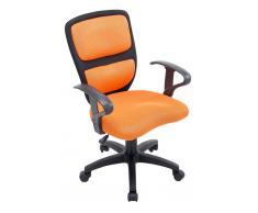 CLP Silla de oficina Einstein para niños negro-naranja, soporte plastico, altura regulable 43 - 50 cm