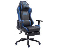 CLP Silla de oficina XL Racing modelo Shift con reposapiés, negro/azul negro/azul, altura del asiento
