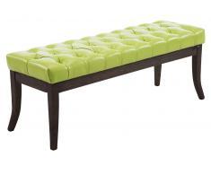 CLP Banco Ramses tapizado de cuero sintético, soporte de madera en color oscuro envejecido 120 verde, soporte madera, altura del asiento 46 cm