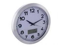 Reloj De Pared Con Pantalla Lcd - Termómetro Y Higrómetro - Aluminio - Ø 35 Cm