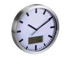 Reloj De Pared Con Pantalla Lcd - Termómetro Y Higrómetro - Aluminio - Ø 25 Cm